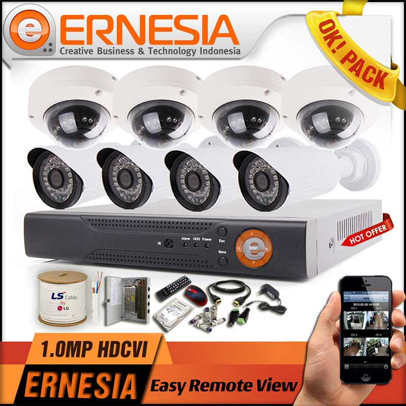 "Paket CCTV ""OK! Pack 1.0MP"" 4 Channel Camera"
